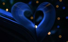 Картинка макро, сердце, огоньки, книга
