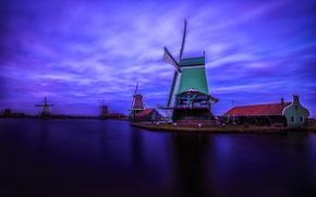Картинка ночь, деревня, Нидерланды, ветряная мельница, Заансе Сханс