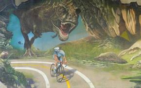Картинка дорога, динозавр, погоня, велосипедист, Тираннозавр
