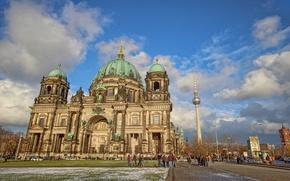 Обои собор, башня, облака, Германия, небо, люди, Берлин