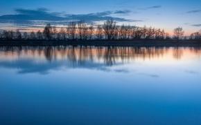 Картинка гладь, отражение, Деревья, озеро, вода, вечер, голубое, небо, ряд, тишина, облака, закат