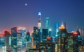 Обои Oriental Pearl Tower, Shanghai Tower, Shanghai World Financial Center, огни, луна, Китай, ночь, города, небо, ...