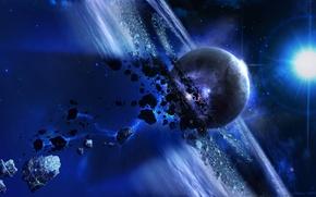 Обои звезды, планета, метеорит