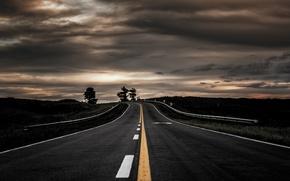 Обои пейзаж, вечер, дорога
