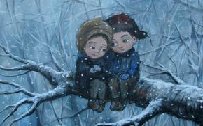 Картинка зима, дерево, чувства, ветка, мальчик, девочка, друзья, забота, Нино Чакветадзе