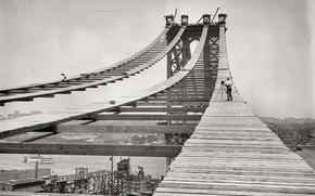 Обои ретро, мост, история, фото, ч/б, строительство