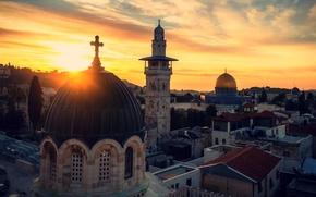 Картинка sunset, cross, Skyline, Jerusalem, Holy Land