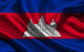 Картинка Красный, Синий, Флаг, Текстура, Flag, Камбоджа, Cambodia, Kingdom of Cambodia, Королевство Камбоджа