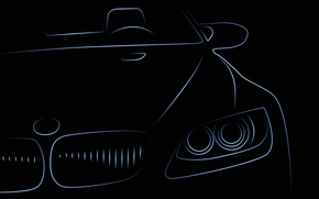 Картинка машина, BMW, силуэт, автомобиль