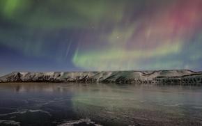 Картинка лед, небо, снег, ночь, озеро, северное сияние, Исландия