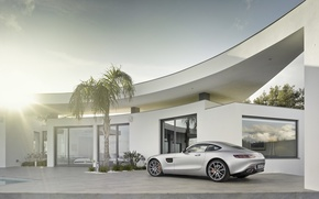 Обои mercedes benz, amg gt, silver, 2015, coupe, дом, солнце