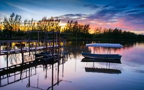 Картинка лодка, отражение, деревья, берег, Тайланд, вечер, небо, река, облака, закат