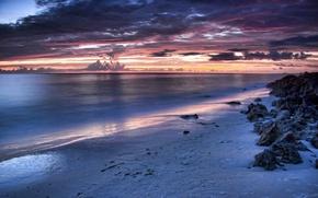 Обои море, облака, закат, камни, берег