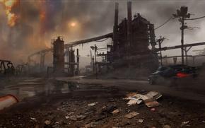 Обои Закат, Дым, Огонь, Машина, Кран, Арт, Mad Max, Warner Bros. Interactive Entertainment, Трубы, Avalanche Studios, ...