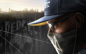 Картинка хакер, Marcus, Watch Dogs 2, небо, парень, дома, Маркус, город, Ubisoft, кепка, очки, маска