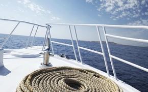 Обои море, яхта, канат, бриз