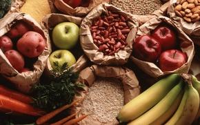 Обои горох, картошка, крупа, яблоки, бананы, морковь