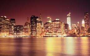 Картинка свет, город, огни, пролив, здания, дома, Нью-Йорк, небоскребы, USA, США, New York, NYC, New York …