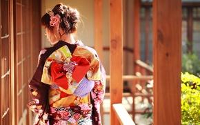 Картинка лето, лицо, стиль, одежда, кимоно, азиатка