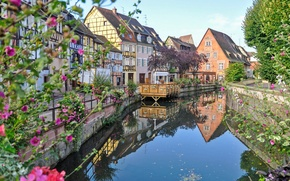 Картинка цветы, река, Франция, дома, Кольмар