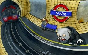 Обои рисунок, фантазия, метро
