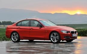 Обои дождь, бмв, BMW, бумер, F30, 3-series