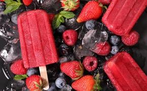Обои ice, клубника, strawberries, blueberries, sweet, ice cream, малина, ягоды, черника, raspberries, сладкое, лед, мороженое