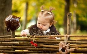 Картинка осень, ребенок, девочка, мех, girls, маленькая, рябина, autumn, child, Little, fur