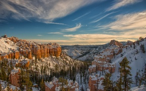 Картинка зима, небо, снег, деревья, горы, скалы, каньон