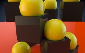 Картинка фон, шар, куб