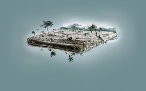 Картинка пальмы, машины, брызги, море, дерево, птицы, вода, машина, потоп, океан, пальма, минимализм, ситуация, деревья, люди, ...