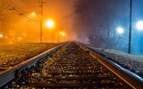 Картинка ночь, туман, железная дорога
