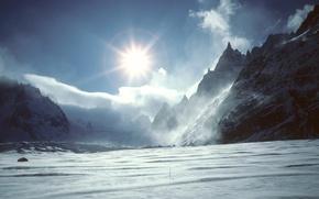 Обои солнце, облака, снег, горы