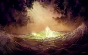 Картинка волны, свет, буря