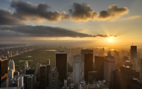 Картинка небо, солнце, город, здания, New York