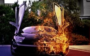 Картинка car, fire, lamborghini, burning