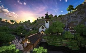 Картинка лес, небо, трава, облака, горы, мост, дом, река, фонарь, Minecraft, Home At Sundown