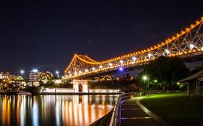 Картинка ночь, мост, огни, река, дома, Австралия, фонари, набережная, Brisbane