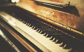 Картинка ретро, клавиши, старое, пианино, photo, retro, винтаж, old, piano, Vintage