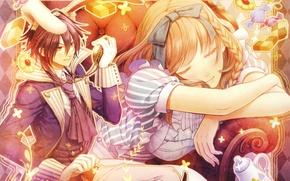 Картинка часы, сон, кресло, кролик, сладости, алиса, alice in wonderland, amnesia, shin, hanamura mai