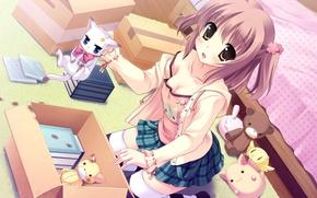 Картинка грудь, взгляд, девушка, котенок, комната, постель, art, yukie, tsumugi