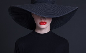 Картинка fashion, hat, Lips painted, haute couture
