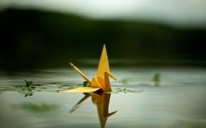 Обои пруд, оригами, журавлик
