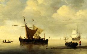 Картинка море, небо, пейзаж, лодка, корабль, парусник, картина, парус, рыбаки