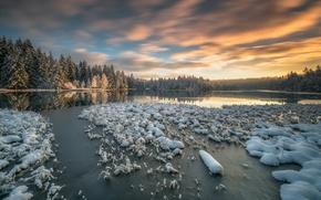 Обои зима, лес, снег, озеро, Швейцария, Switzerland, Canton of Jura, кантон Юра
