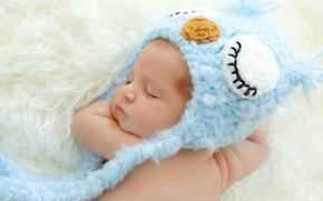Картинка шапочка, сова, ребенок, малыш, спит, младенец, голубая