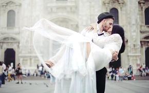 Картинка шляпа, платье, влюбленные, невеста, свадьба, жених