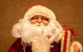 Картинка праздник, новый год, кукла, очки, борода, дед мороз