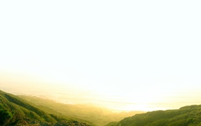 Картинка небо, солнце, свет, горы, горизонт, ростительность