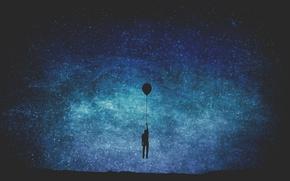 Картинка звезды, воздушный шар, мужчина, Млечный Путь, тайны